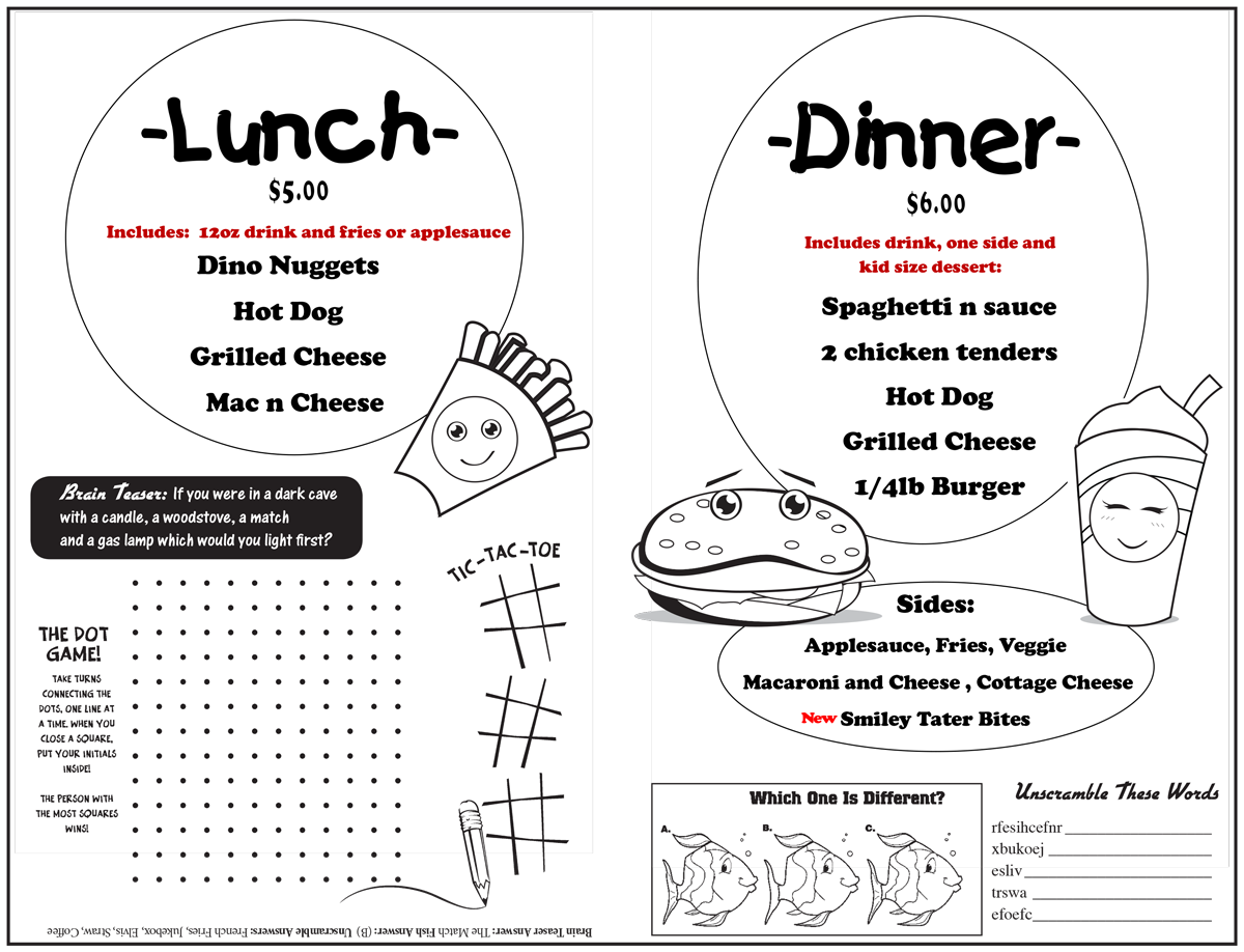 Speed Trap Diner Kids Menu