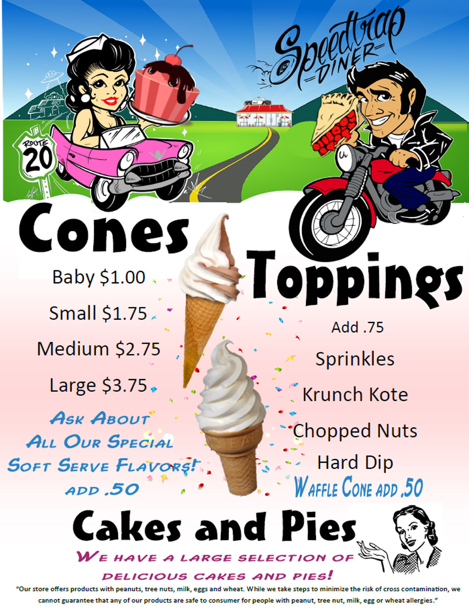 Cones, Toppings, Cakes & Pies